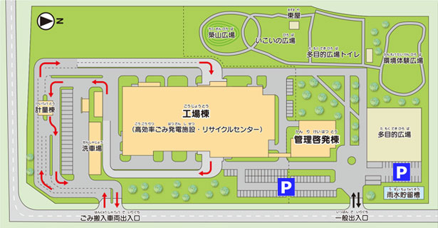 施設配置、駐車場案内図